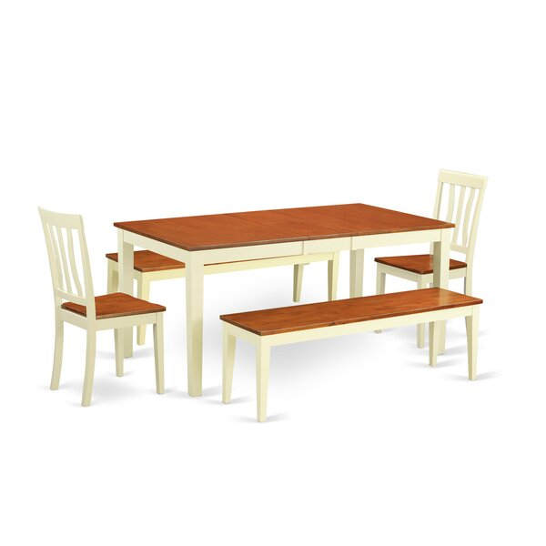 Great Price Cleobury 5 Piece Extendable Solid Wood Dining Set regarding Miskell 5 Piece Dining Sets