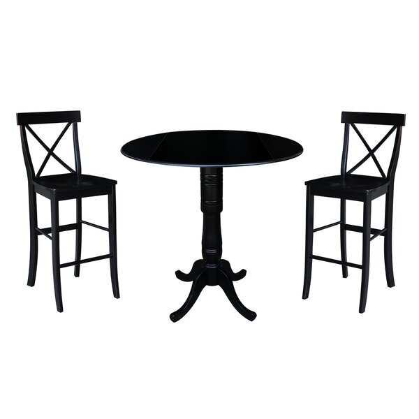 Great Price Kimble 3 Piece Pub Table Setrosecliff Heights Within Hanska Wooden 5 Piece Counter Height Dining Table Sets (Set Of 5) (Image 8 of 25)