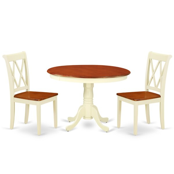 Great Price Lamotte 3 Piece Solid Wood Breakfast Nook Dining Set with regard to Lonon 3 Piece Dining Sets