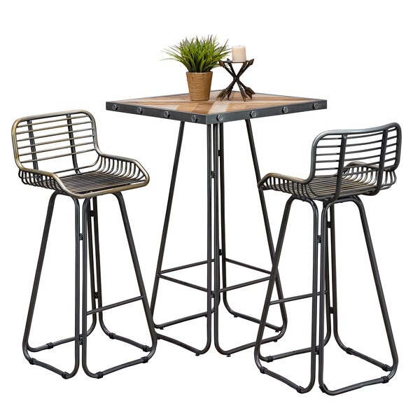 Great Price Villani 3 Piece Pub Table Setwilliston Forge For Presson 3 Piece Counter Height Dining Sets (Image 12 of 25)