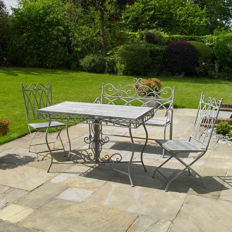 Grey Vintage 4 Piece Garden Dining Set - New | In Loughborough, Leicestershire | Gumtree intended for John 4 Piece Dining Sets