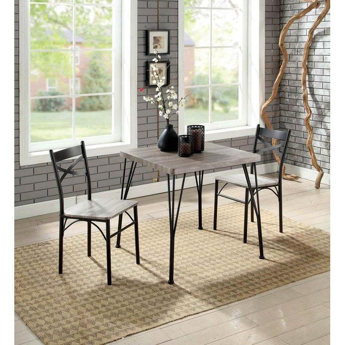 Guertin 3 Piece Dining Set In 2019 | Nesting | 3 Piece Dining Set In Bearden 3 Piece Dining Sets (Photo 8 of 25)