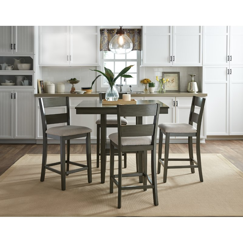 Gwyneth 5 Piece Counter Height Dining Set Inside Bettencourt 3 Piece Counter Height Dining Sets (Photo 18 of 25)