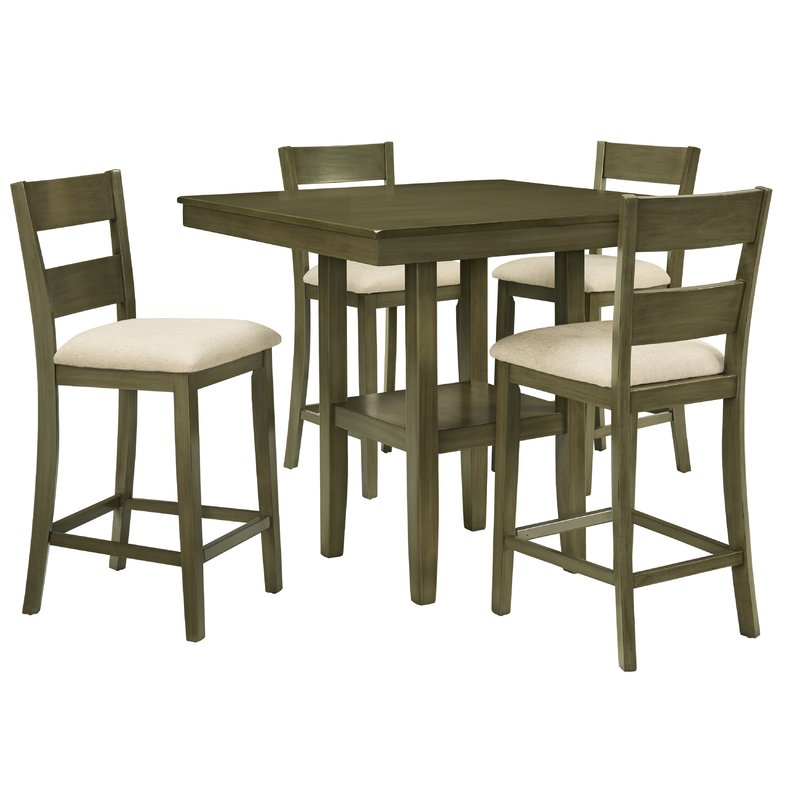 Gwyneth 5 Piece Counter Height Dining Set Pertaining To Bettencourt 3 Piece Counter Height Solid Wood Dining Sets (View 4 of 25)