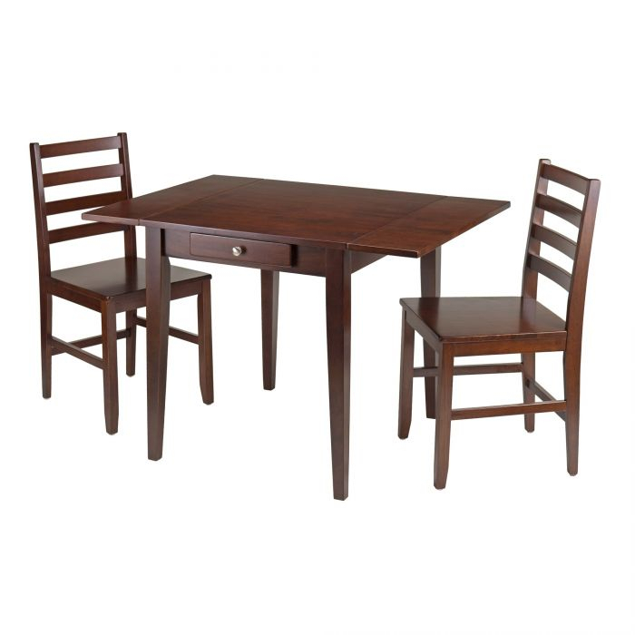 Hamilton 3-Piece Dining Set, Drop Leaf Table W/ 2 Ladder Back Chairs 94366 in Winsome 3 Piece Counter Height Dining Sets