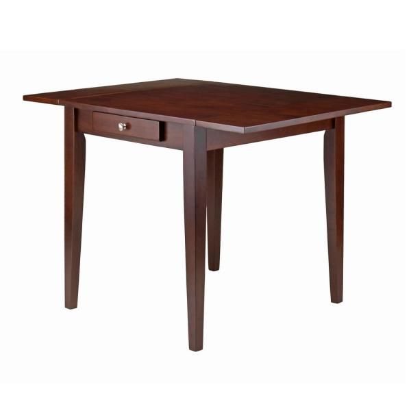 Hamilton Walnut Double Drop Leaf Dining Table regarding Winsome 3 Piece Counter Height Dining Sets