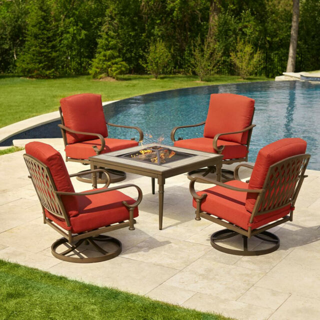 Hampton Bay Oak 5 Piece Metal Patio Fire Pit Conversation Set Chili Cushions With Aria 5 Piece Dining Sets (View 6 of 25)
