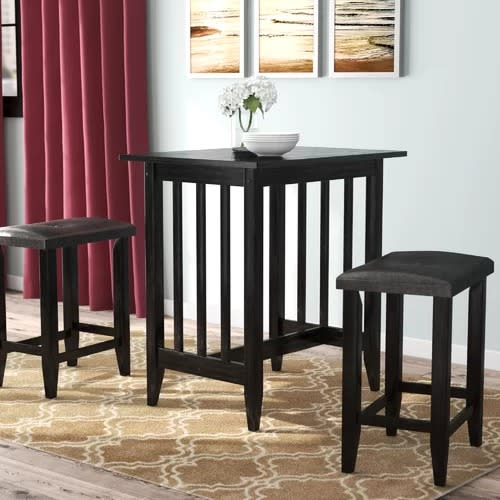 Handys Rutkowski 5 Piece Counter Height Solid Wood Pub Table Set Inside Bettencourt 3 Piece Counter Height Solid Wood Dining Sets (Image 11 of 25)