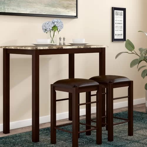 Handys Rutkowski 5 Piece Counter Height Solid Wood Pub Table Set pertaining to Bettencourt 3 Piece Counter Height Solid Wood Dining Sets