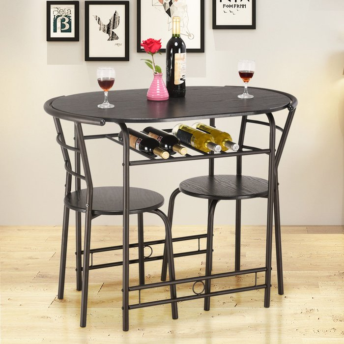 Hassinger 3 Piece Dining Set Intended For Honoria 3 Piece Dining Sets (Image 11 of 25)