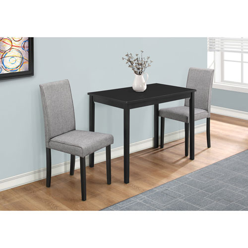 Hawthorne Ave Black And Grey Linen 3 Piece Dining Set intended for 3 Piece Dining Sets