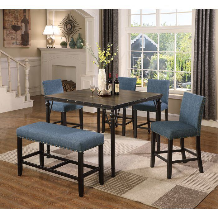 Haysi Counter Height 6 Piece Pub Table Set | Bar Stools | Counter With Regard To Mukai 5 Piece Dining Sets (Photo 14 of 25)