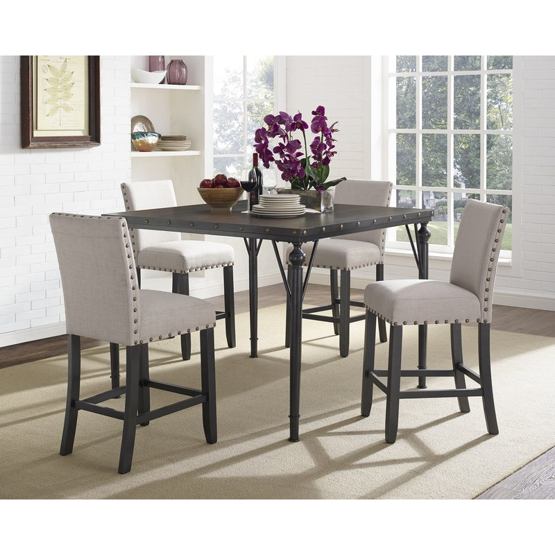 Haysi Wood Counter Height 5 Piece Dining Set With Fabric Nailhead Chairs for Bryson 5 Piece Dining Sets