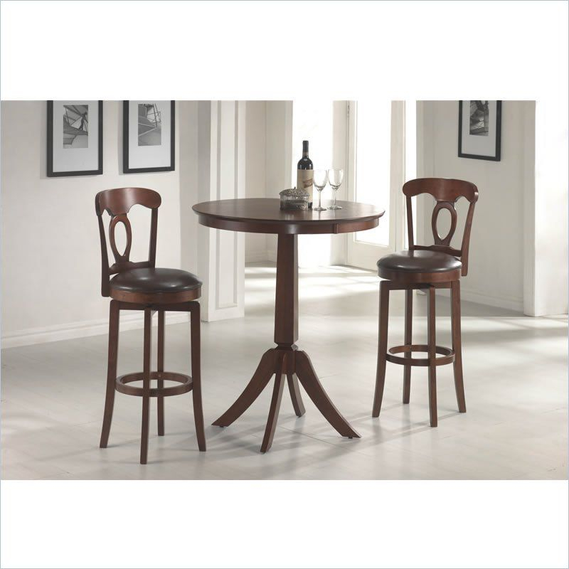 Hillsdale Corsica 3 Piece Brown Counter Height Bar Set | Table Inside Bettencourt 3 Piece Counter Height Solid Wood Dining Sets (View 8 of 25)