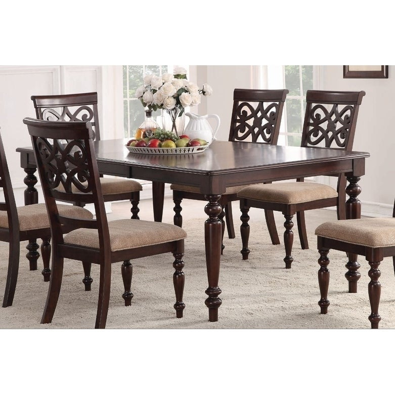 Home Source Laconia Walnut 7-Piece Dining Set for Laconia 7 Pieces Solid Wood Dining Sets (Set Of 7)