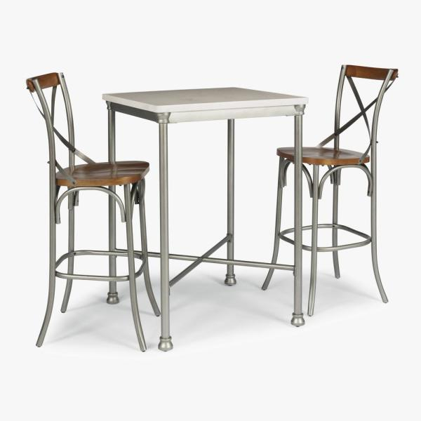 Home Styles Orleans 3-Piece White And Gray Bar Table Set 5060-358 within Penelope 3 Piece Counter Height Wood Dining Sets