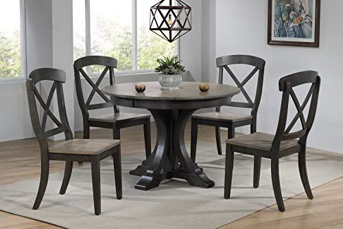 Iconic Furniture Company Rd45 Deco Bks Ch60 Grs Bks Dinning Set Regarding Mukai 5 Piece Dining Sets (View 23 of 25)