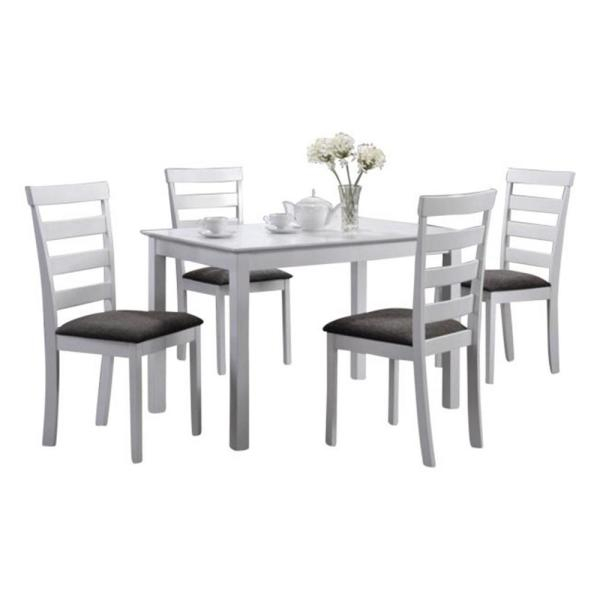 Indoor Black And White Ladder Back 5 Piece Dining Set With A Solid  Rectangular Dining Table Within 5 Piece Dining Sets (Image 13 of 25)
