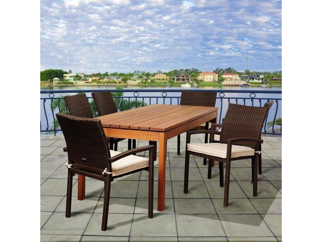 International Home Miami Sc Ata 6Libarm Br Maynard 7 Piece Eucalyptus &  Wicker Rectangular Patio Dining Set With Off White Cushions – Newegg With Regard To Maynard 5 Piece Dining Sets (Image 3 of 25)