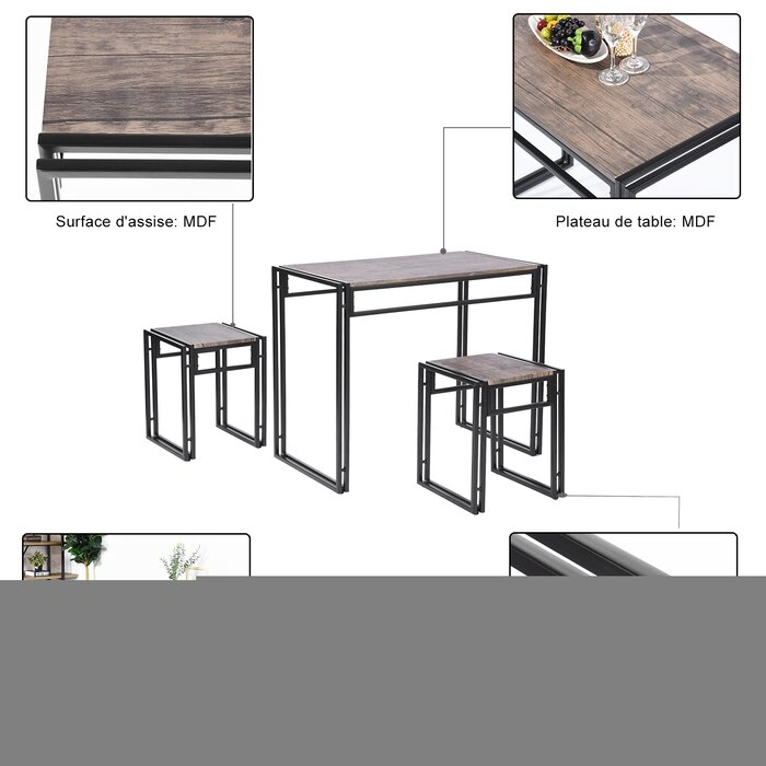 Isolde 3 Piece Dining Set Regarding Isolde 3 Piece Dining Sets (View 7 of 25)