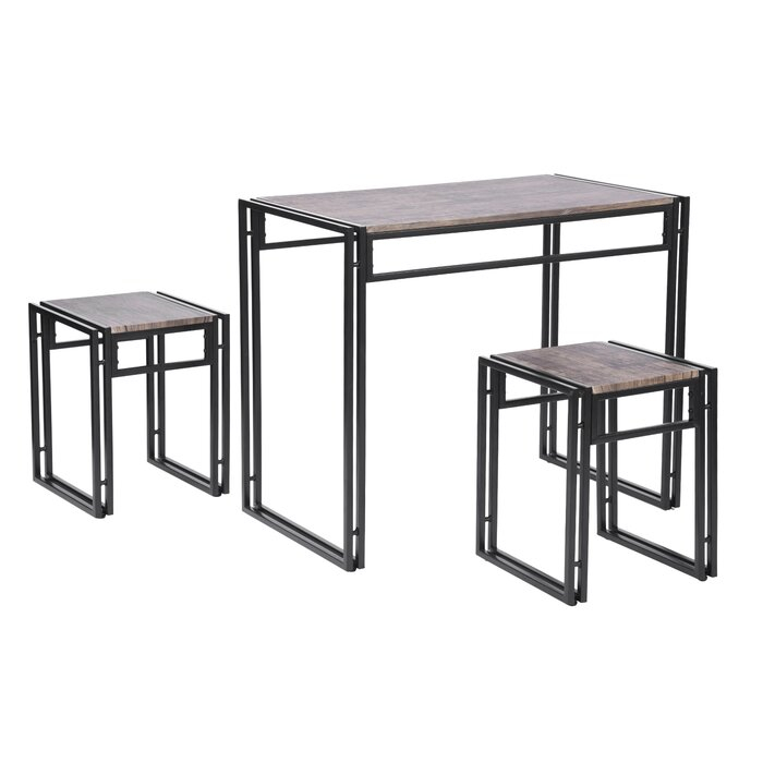 Isolde 3 Piece Dining Set with regard to Isolde 3 Piece Dining Sets