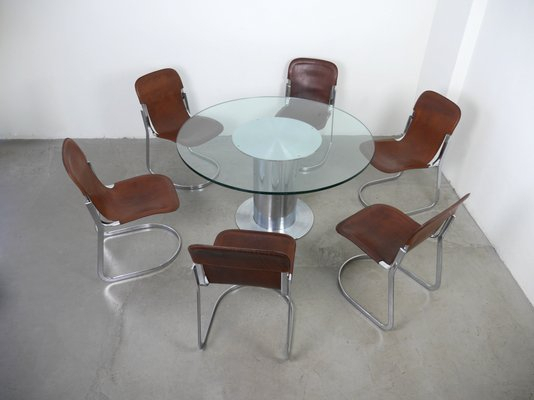 Italian Dining Set With Table & 6 Chairswilly Rizzo For Cidue, 1970S For Nutter 3 Piece Dining Sets (View 15 of 25)