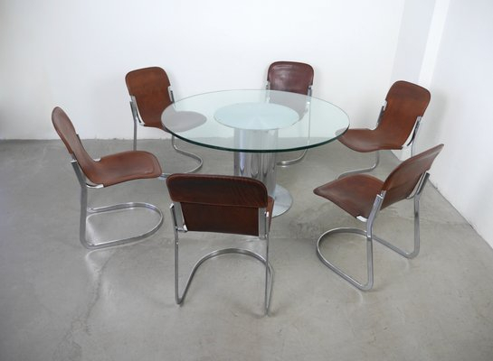 Italian Dining Set With Table & 6 Chairswilly Rizzo For Cidue, 1970S pertaining to Nutter 3 Piece Dining Sets