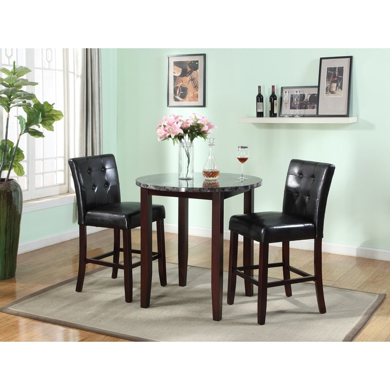 Janmarie 3 Piece Counter Height Dining Set Throughout Mizpah 3 Piece Counter Height Dining Sets (Photo 7 of 25)