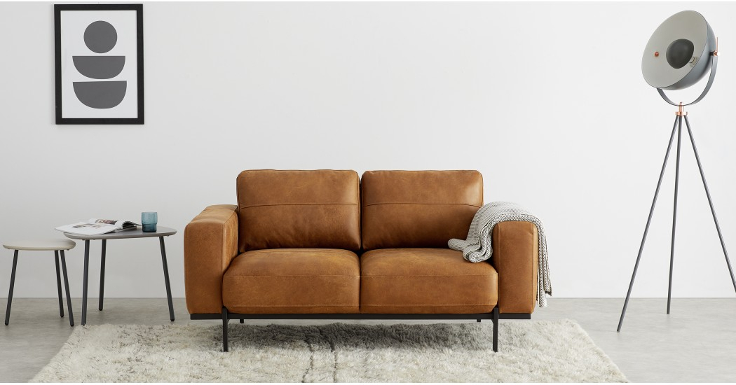 Jarrod 2 Seater Sofa, Outback Tan Leather Regarding Jarrod 5 Piece Dining Sets (View 13 of 25)
