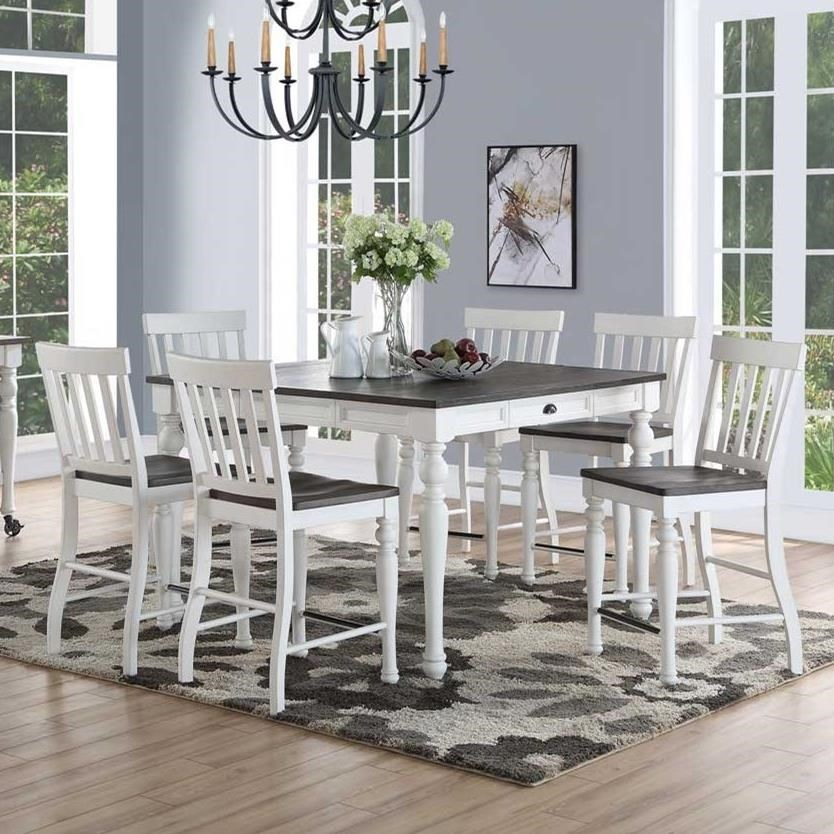 Joanna Counter Height Dining Set With Six Stoolssteve Silver At  Furniture Fair – North Carolina Within Moorehead 3 Piece Counter Height Dining Sets (Image 8 of 25)