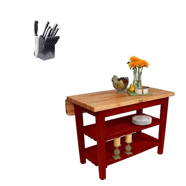 John Boos Kib 60X38 Block & 13 Piece Henkles Knife Set,barn Red Pertaining To John 4 Piece Dining Sets (Photo 12 of 25)