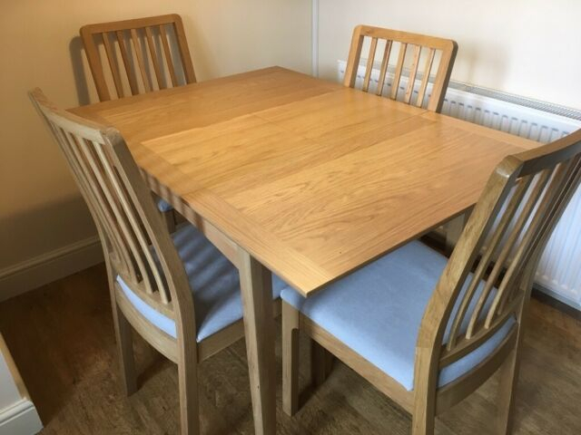 John Lewis, Alba 2 4 Seater Extending Oak Dining Table With 4 Ikea Ekedalen Chairs | In Skelmanthorpe, West Yorkshire | Gumtree Regarding John 4 Piece Dining Sets (View 9 of 25)
