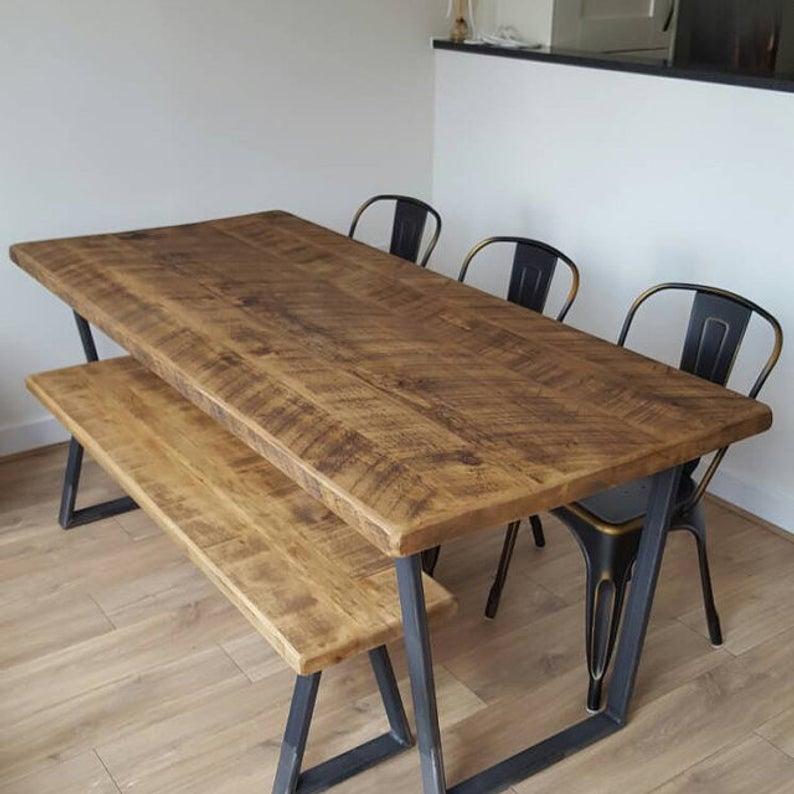 John Lewis Calia Style Industrial Reclaimed Dining Table V-Frame Steel Base (Handmade Uk) intended for John 4 Piece Dining Sets