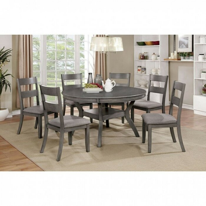 Juniper Transitional Style Round Dining Table With 4 Chairs – Grey Finish Within Hanska Wooden 5 Piece Counter Height Dining Table Sets (Set Of 5) (Image 11 of 25)