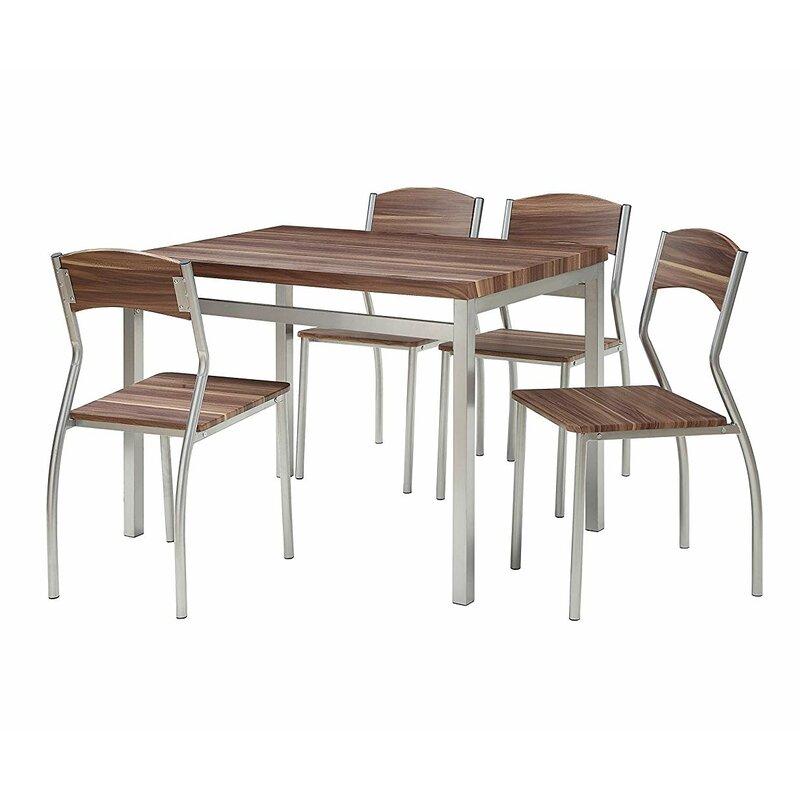 Kaelin 5 Piece Dining Set Pertaining To Rarick 5 Piece Solid Wood Dining Sets (Set Of 5) (Image 11 of 25)