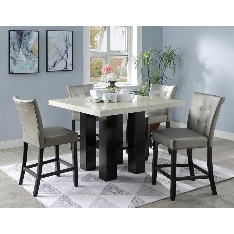 Kassadin Faux Marble 5 Pcs Counter Height Dining Set Throughout Bettencourt 3 Piece Counter Height Solid Wood Dining Sets (View 22 of 25)