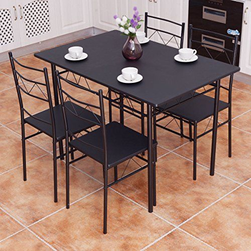 Kchex>>>5 Piece Dining Table Set 4 Chairs Wood Metal Kitchen Pertaining To Casiano 5 Piece Dining Sets (Photo 6 of 25)
