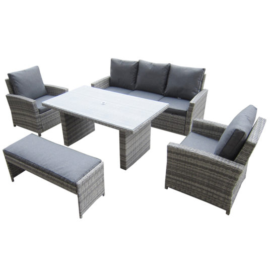 Kensington Malmo 5Pc Sofa Set – 2 Armchairs, 3 Seat Sofa, Dining Height  Table & Dining Bench – Granite Throughout Chelmsford 3 Piece Dining Sets (Photo 25 of 25)