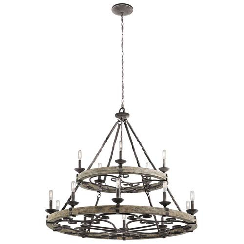 Kichler Taulbee Weathered Zinc 15 Light Chandelier 43826Wzc | Bellacor Regarding Taulbee 5 Piece Dining Sets (View 20 of 25)