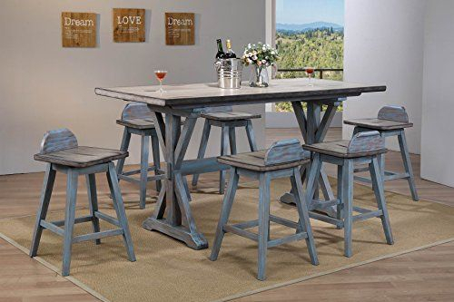Kings Brand Arland Grey/blue 7 Piece Counter Height Dining Set With Ephraim 5 Piece Dining Sets (Image 18 of 25)