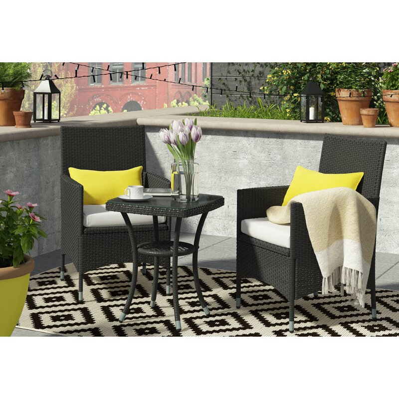 Kinsler 2 Seater Bistro Set With Cushions For Kinsler 3 Piece Bistro Sets (View 6 of 25)