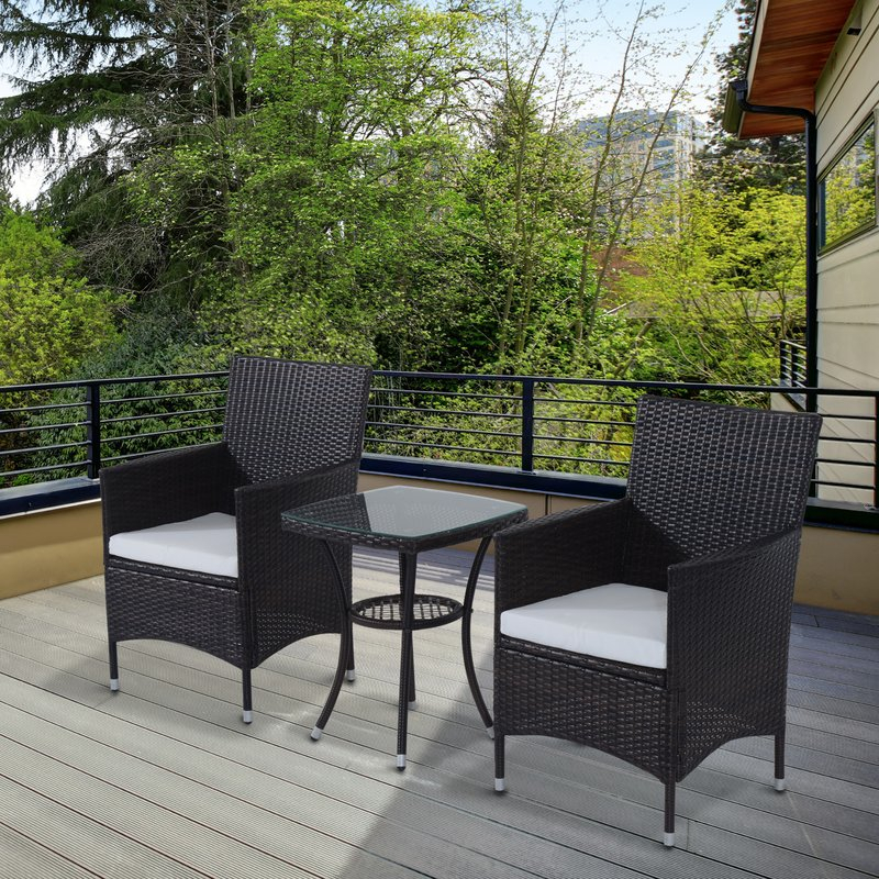 Kinsler 2 Seater Bistro Set With Cushions Intended For Kinsler 3 Piece Bistro Sets (View 8 of 25)