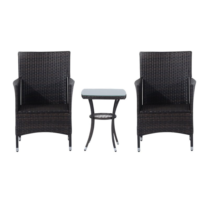 Kinsler 2 Seater Bistro Set With Cushions With Kinsler 3 Piece Bistro Sets (View 9 of 25)