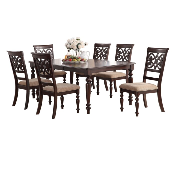 Laconia 7 Pieces Solid Wood Dining Set Intended For Laconia 7 Pieces Solid Wood Dining Sets (Set Of 7) (Image 12 of 25)