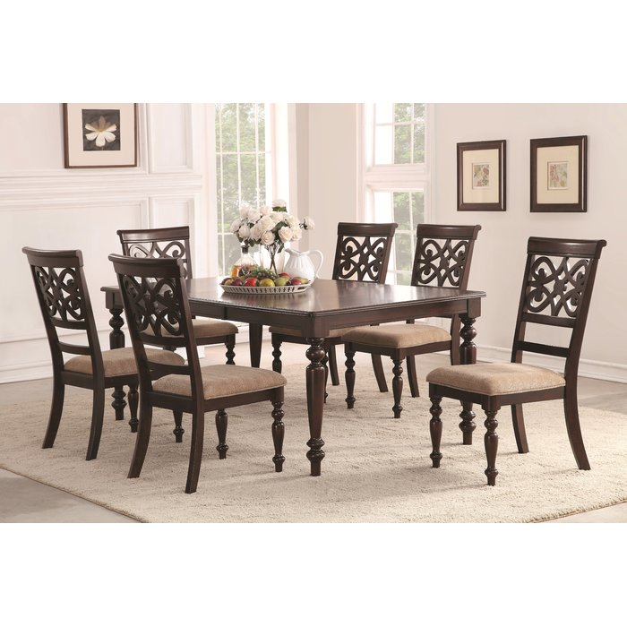 Featured Image of Laconia 7 Pieces Solid Wood Dining Sets (Set Of 7)