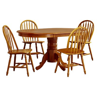 Lark Manor Gennevilliers 5 Piece Dining Set Finish: White / Natural Intended For Ganya 5 Piece Dining Sets (Image 19 of 25)
