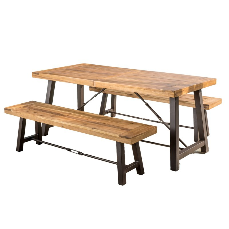 Lebanon 3 Piece Solid Wood Dining Set Regarding 3 Piece Dining Sets (View 9 of 25)