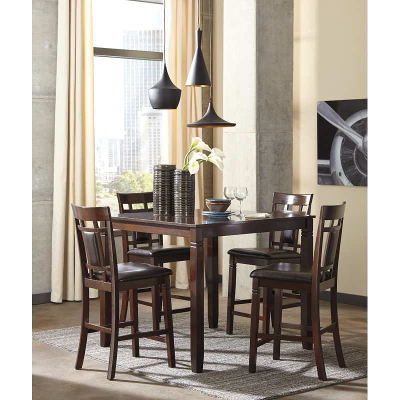 Leger 5 Piece Counter Height Dining Set With Regard To Bettencourt 3 Piece Counter Height Solid Wood Dining Sets (View 6 of 25)