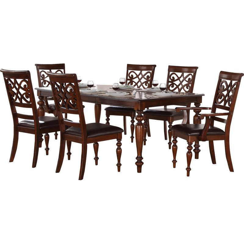Leith 7 Piece Dining Set With Regard To Laconia 7 Pieces Solid Wood Dining Sets (Set Of 7) (Image 19 of 25)
