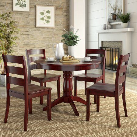 Lexington 5 Piece Dining Set With Round Table And 4 Ladder Back For Ephraim 5 Piece Dining Sets (Image 19 of 25)